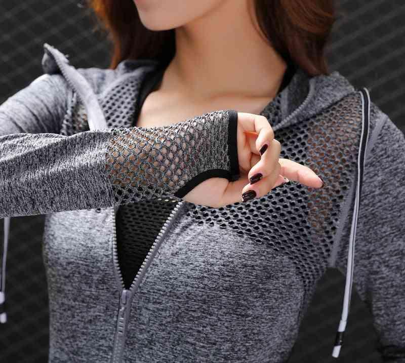 Breathable Hollow Zipper Hoodies Women Sports Jacket