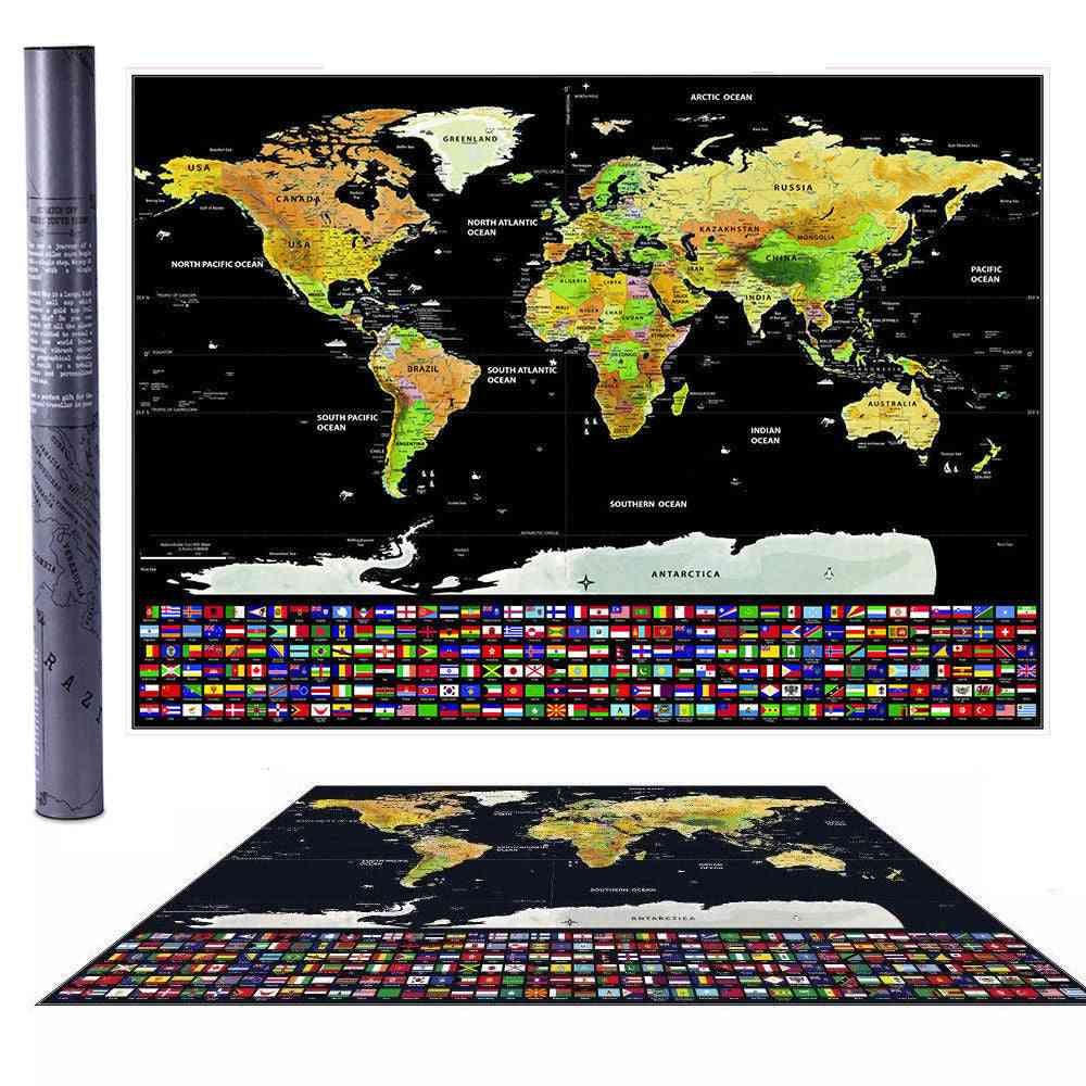 Scratch Off World-map With Country-flags For Travel -42*30cm