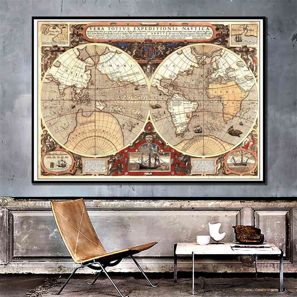 Vintage-world-map, Brown-poster For Home-wall Decor
