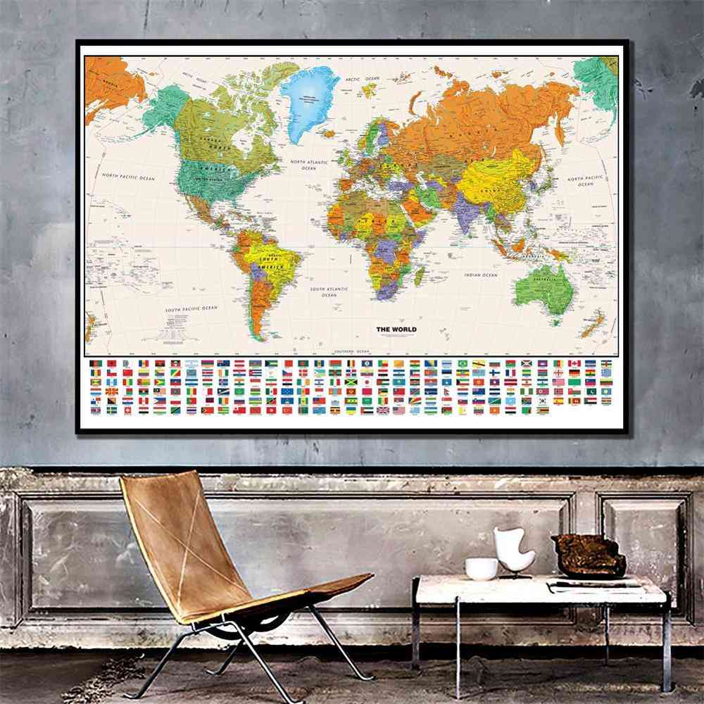 World Physical-map With National-flag For Education And Culture Learning