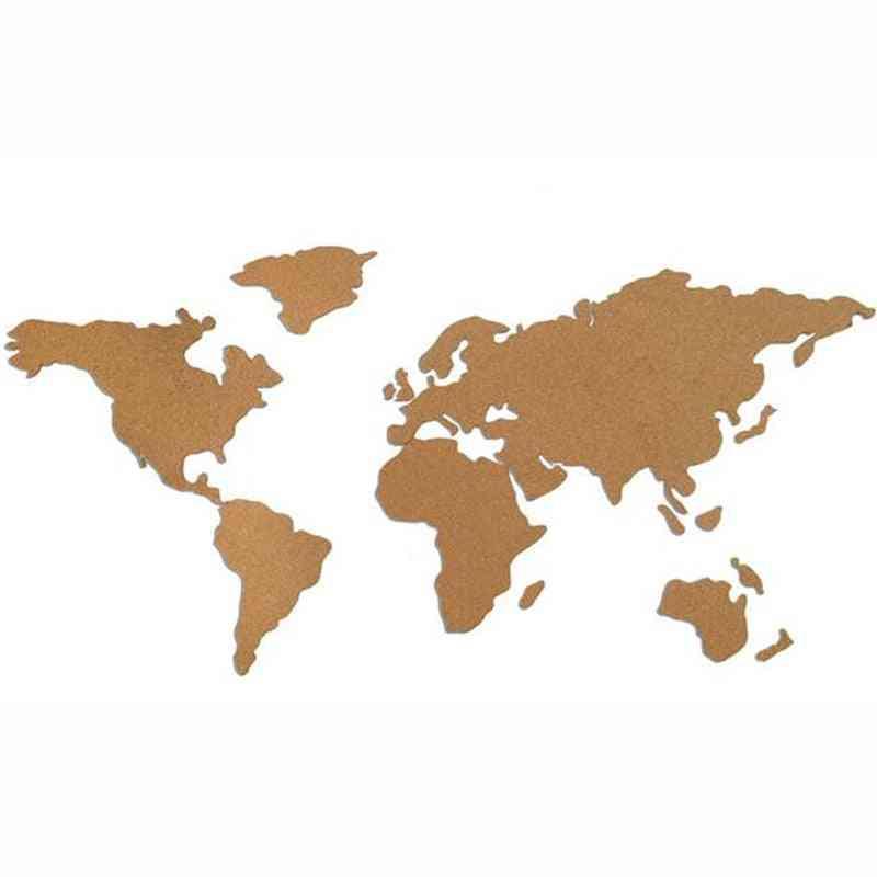 World-map Shape Wooden Cork/pin Board For Office/school/home