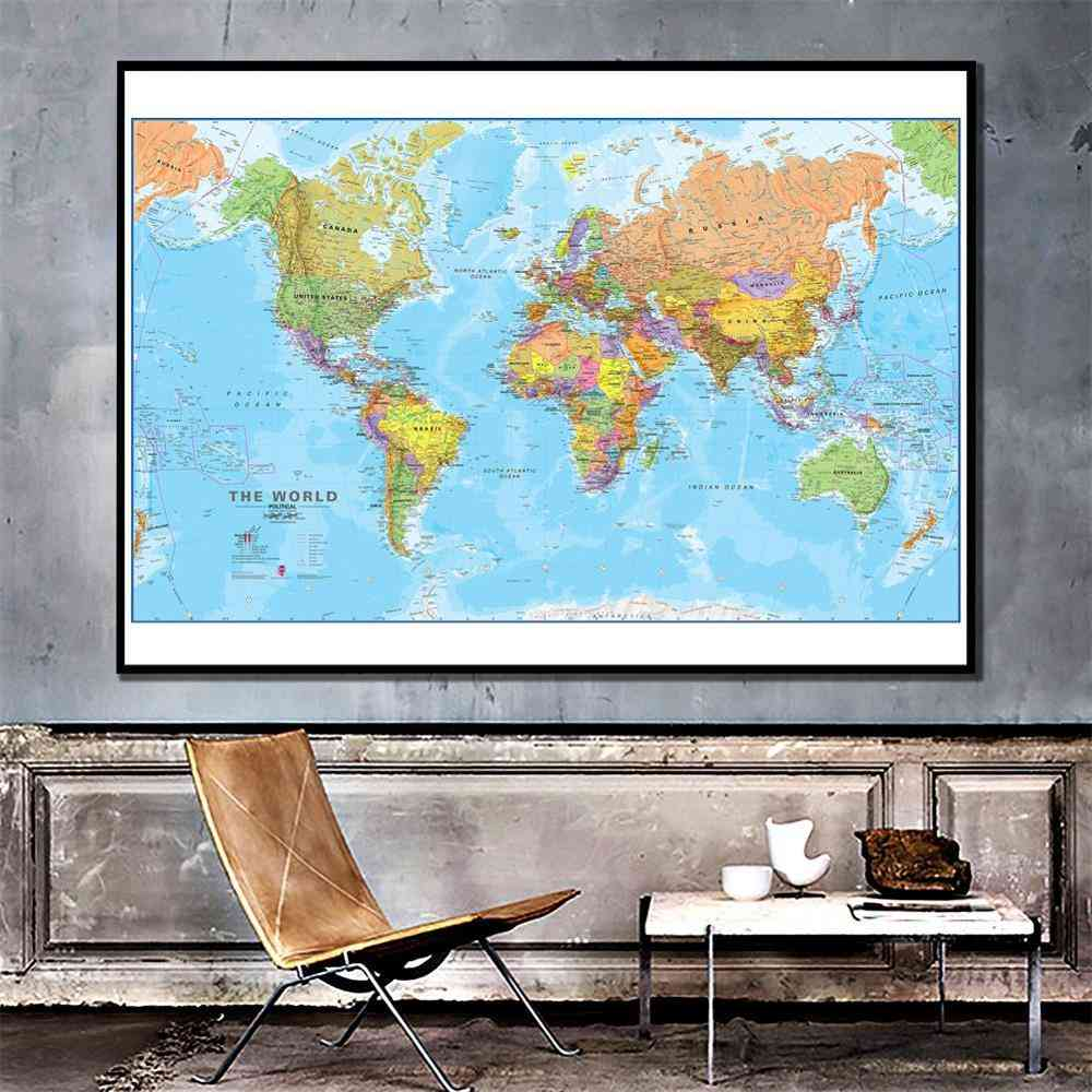Non-woven, World Physical-map Without National-flag For Culture And Education Learning