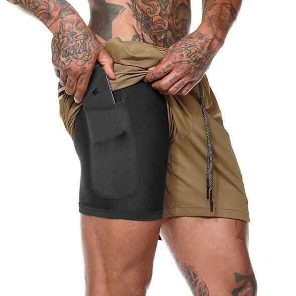 Men's Summer Running Shorts- Men's 2-in-1 Sports Shorts Double Pocket