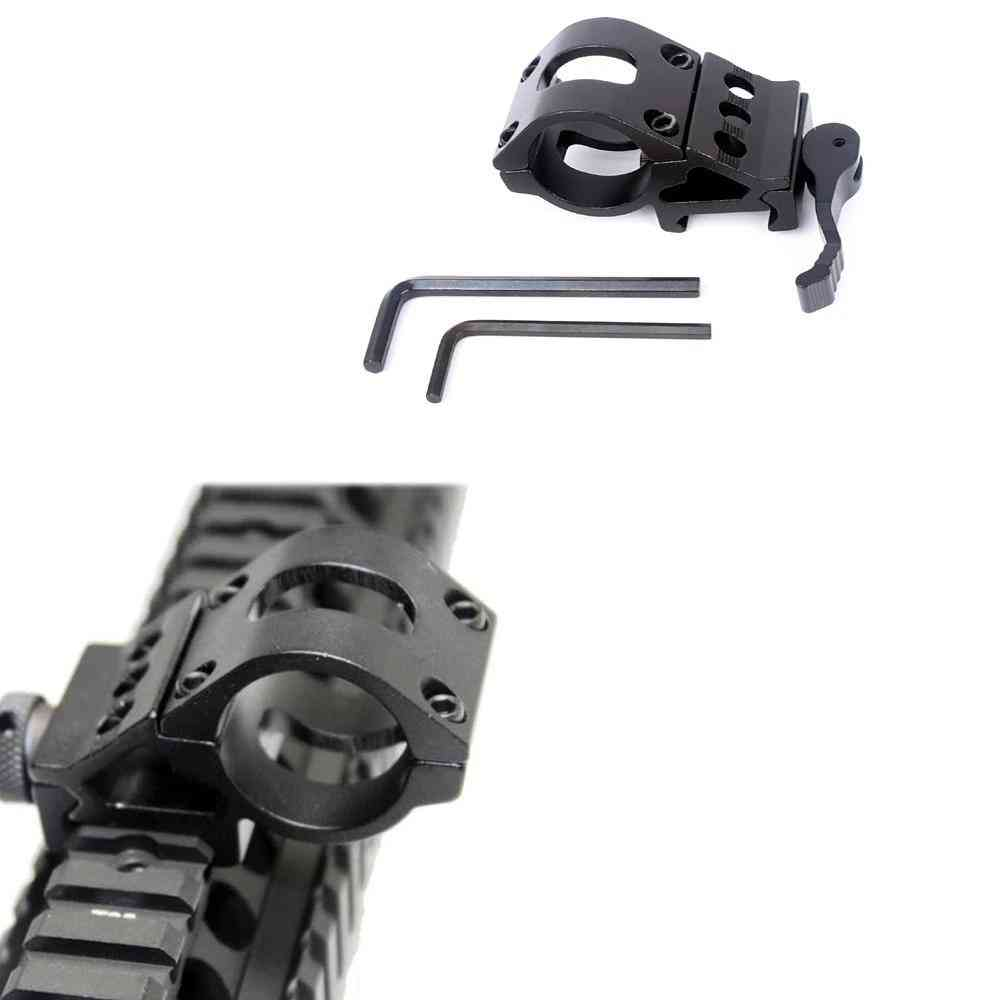 45 Degree Offset Ring Flashlight Holder Mount Fit For 20mm Picatinny Weaver Rail, 25.4mm Tube