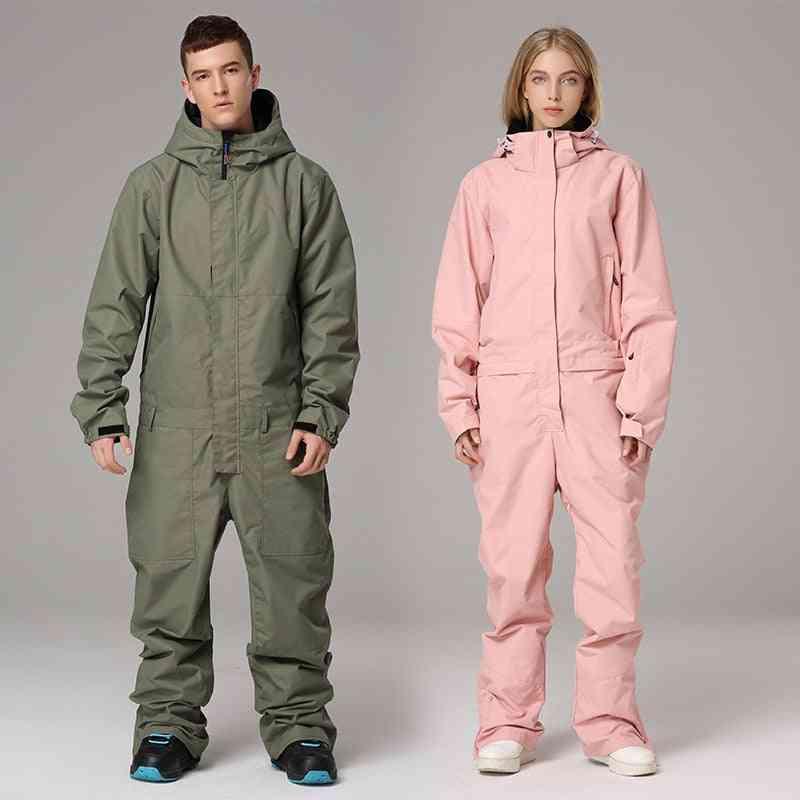 Men Women Waterproof Outdoor Jumpsuit Casual Thick Winter Warm Snowboarding Set