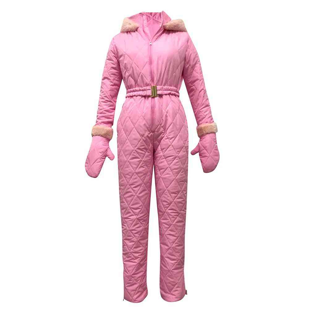 Women Pants, Hooded Tops And Gloves Set For Outdoor Skiing