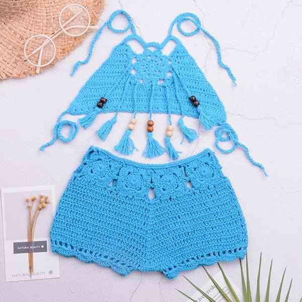 Baby Crochet  Swimsuit, Tassel Swimwear Strappy Bathing Suit
