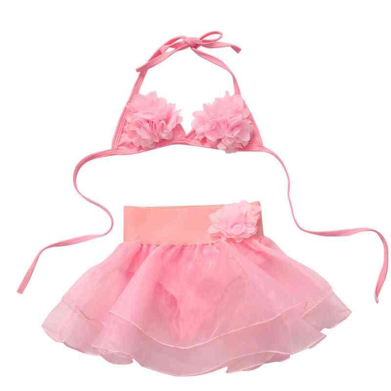 Summer Kids Girl Tutu Skirt Bikini Set- Floral Swimsuit Bathing Suit
