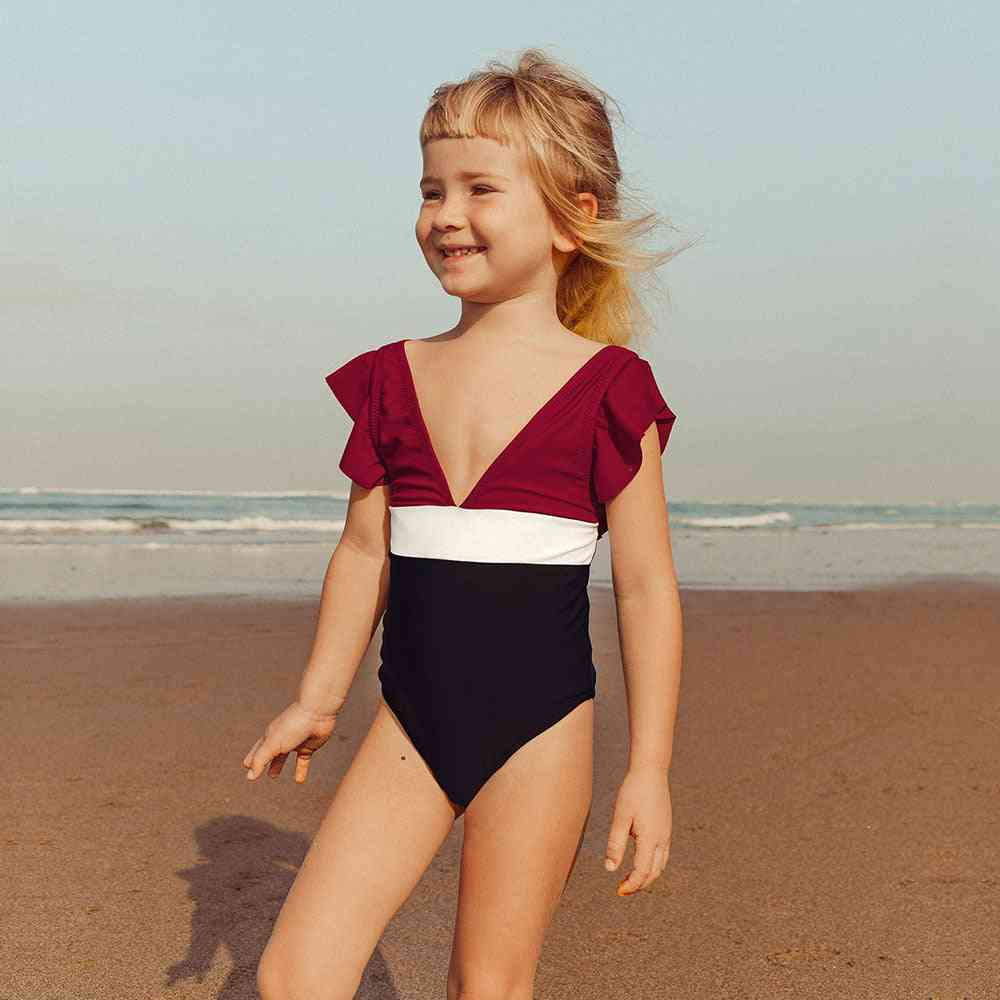 Girl's V-neck One-piece Swimsuit- Bathing Suit