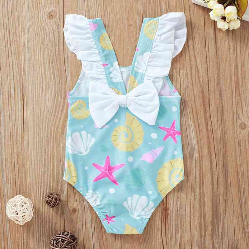 Cartoon Shell/starfish Printed, Cotton Blend-ruffle Swimsuit For Baby