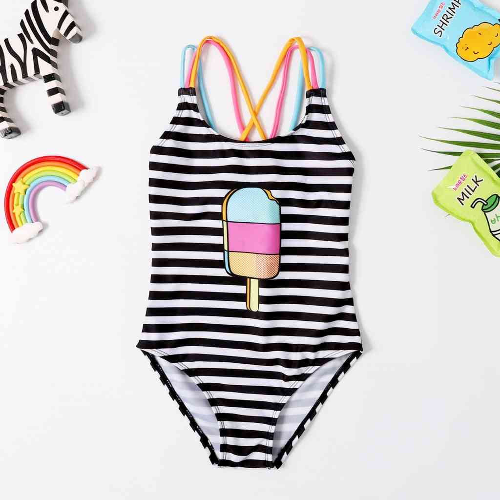 Cute Ice Cream Printed, 1 Piece Striped Swimsuit For