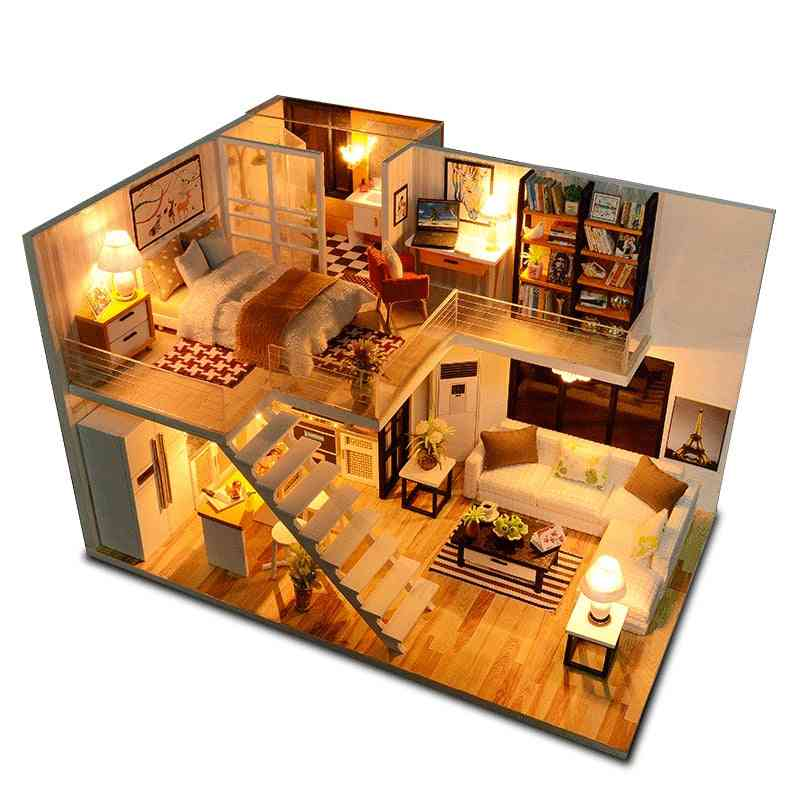 Miniature Dollhouse With Furniture Kit Wooden House For