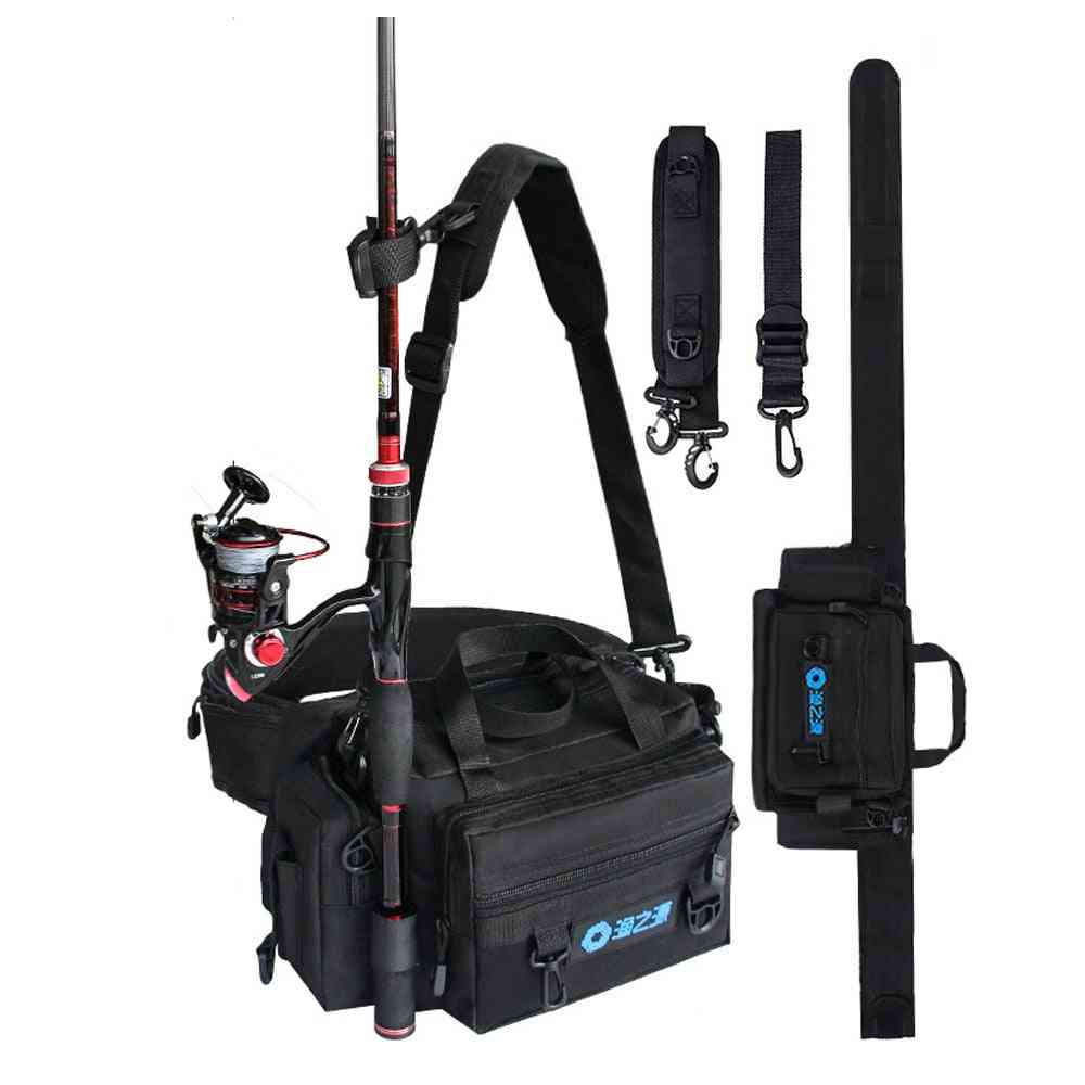 Spinning Fishing Rod Holder Bag, Sports Waist Pack, Lures Tackle Gear Storage