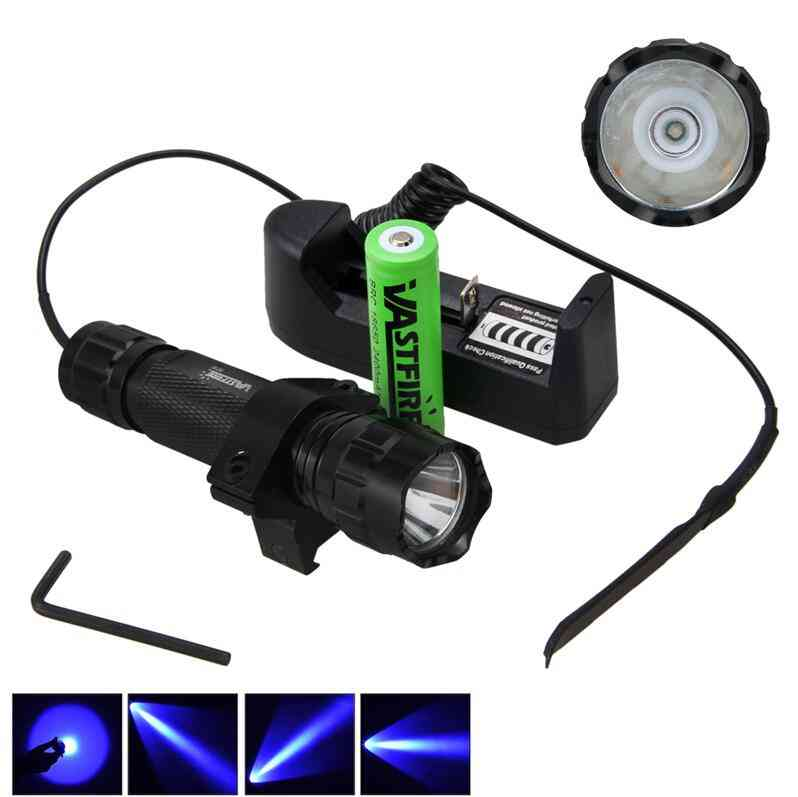 Tactical  Led Flashlight With Remote Pressure Switch, Battery, Charger And Adapter