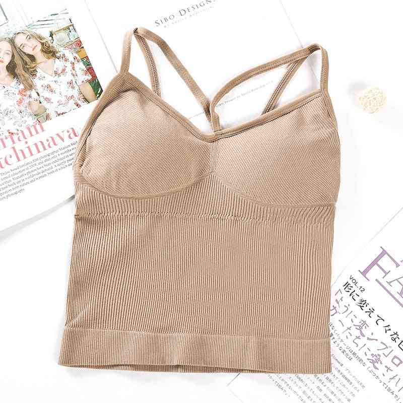 Solid Padded Cropped Top Women Sports Bra-