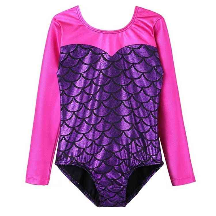 Long Sleeve Patchwork Gymnastic Jumpsuit For Girl