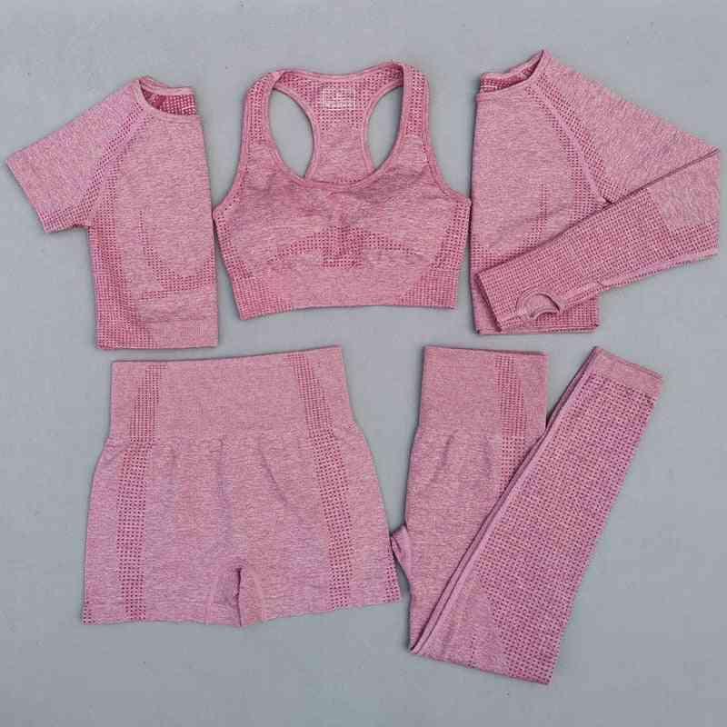 5pcs Set Of Women Vital Seamless Yoga Set- Workout Sport Wear