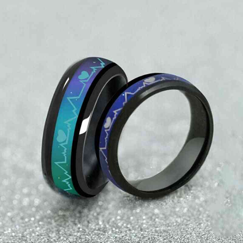 Color Changing Titanium/stainless Steel Mood Ring For Couples