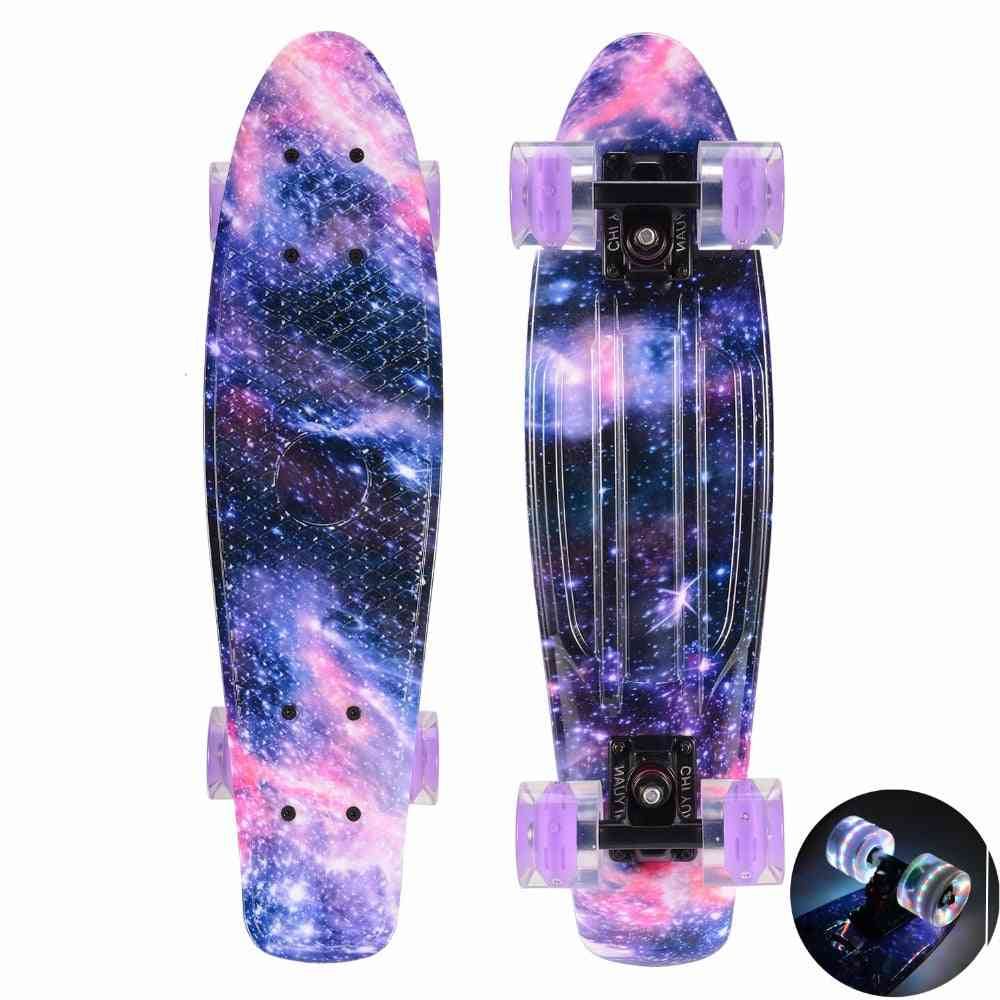 Galaxy  Graphic With Led Light Skateboard