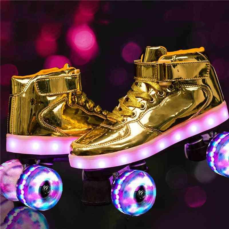 Flash Skate Double-row Pulley Shoes - 4-wheel Pu Luminous Roller Skates & Women