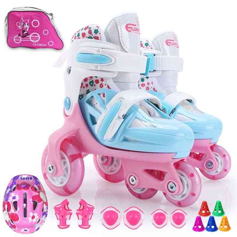 4-wheel Roller Skates With Double-brakes, Adjustable Breathable, Flash Skating Shoes For Beginners