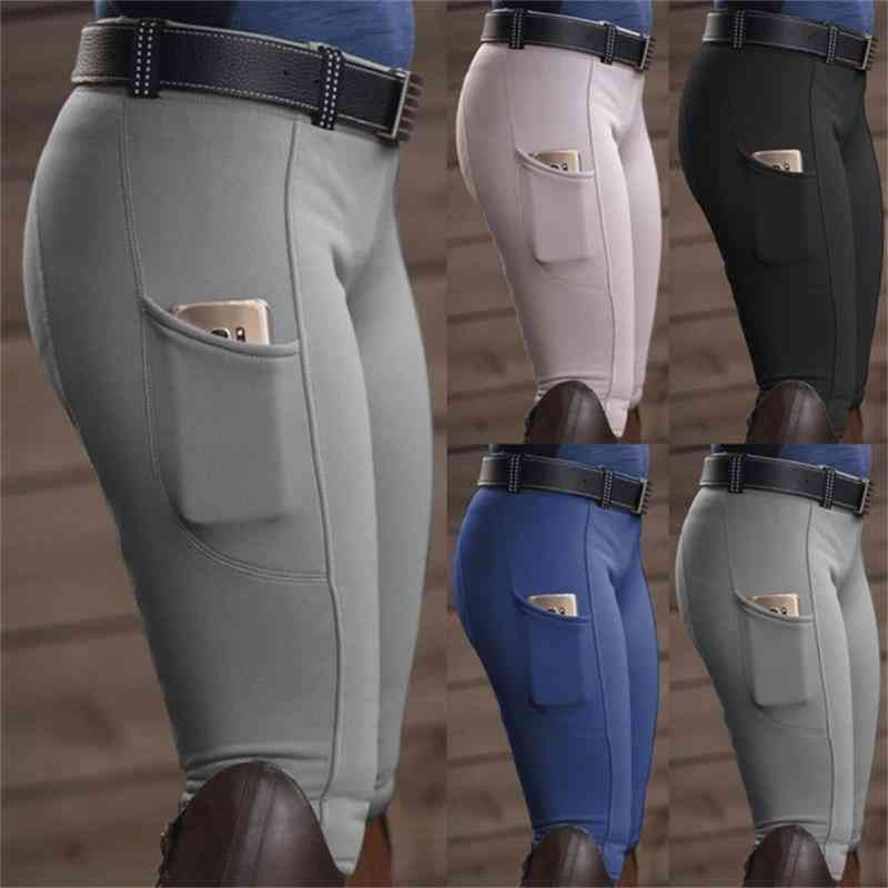 Breeches Skinny Horse Ridding Pants - Legging Slim Fit Pencil Knee Patch Capris, Trouser