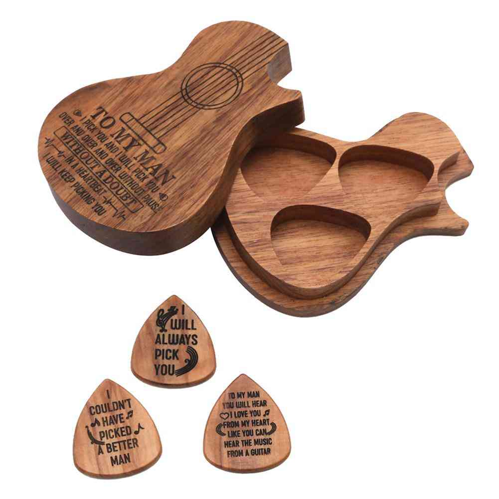 Wood Pick For Acoustic Electric Guitar With Storage Box