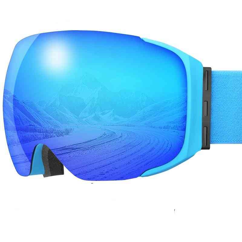 Goggles Magnetic Winter Anti-fog Double Layer Snowboard, Men & Women Protective Snow Glasses