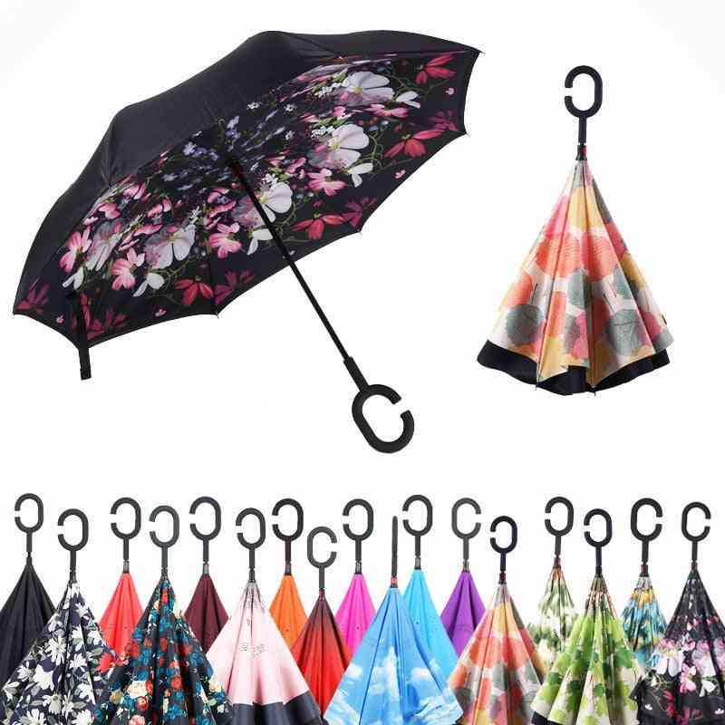 Double Layer Self Stand Inverted Umbrella