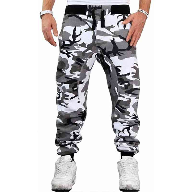 Camouflage Skateboarding Pants For Male, Mans Middle Waist Fitness Pants Trouser