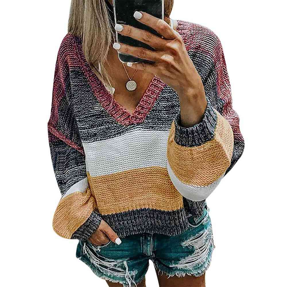 V-neck Women Casual Stripe Sweater- Autumn Loose Tops