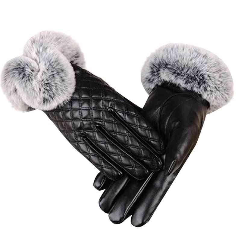 Winter Genuine Sheepskin Leather Gloves