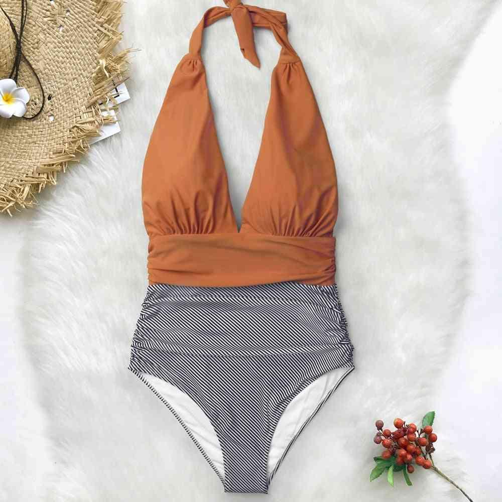 Women V-neck Padded Monokini Swim Suit