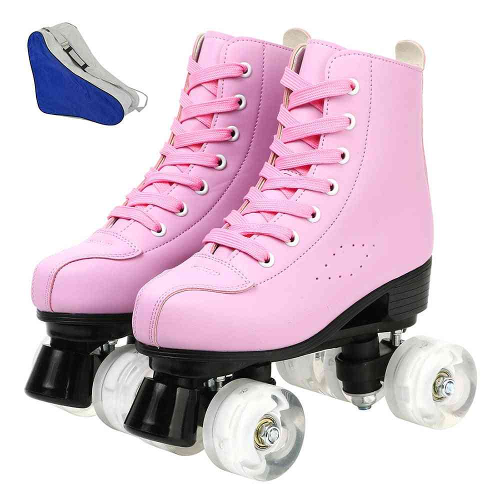 Pair Of Roller Skates And Bag-classic Double Row Design