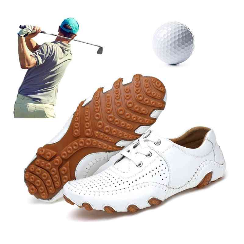 Men's Classic Style, Leather Golf Shoes For Training