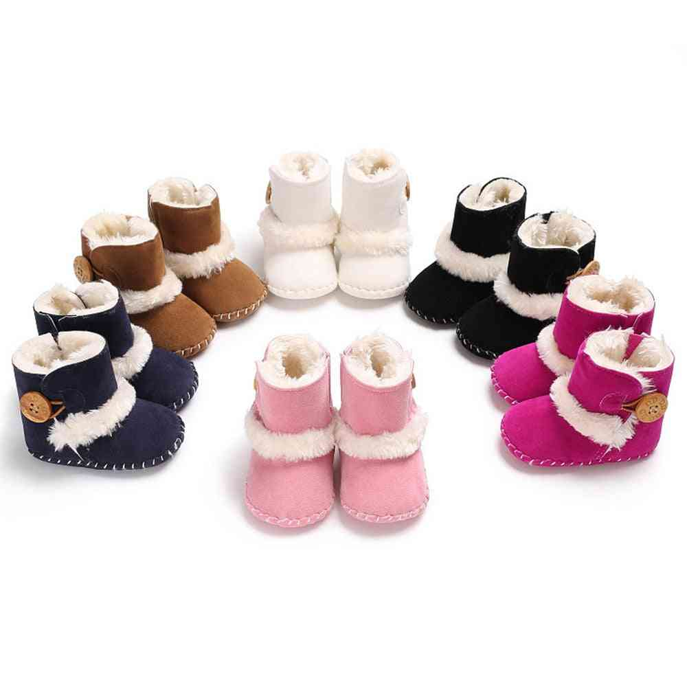 Newborn Infant Baby Snow Boots, Winter Warm Shoes Solid Button Plush Ankle