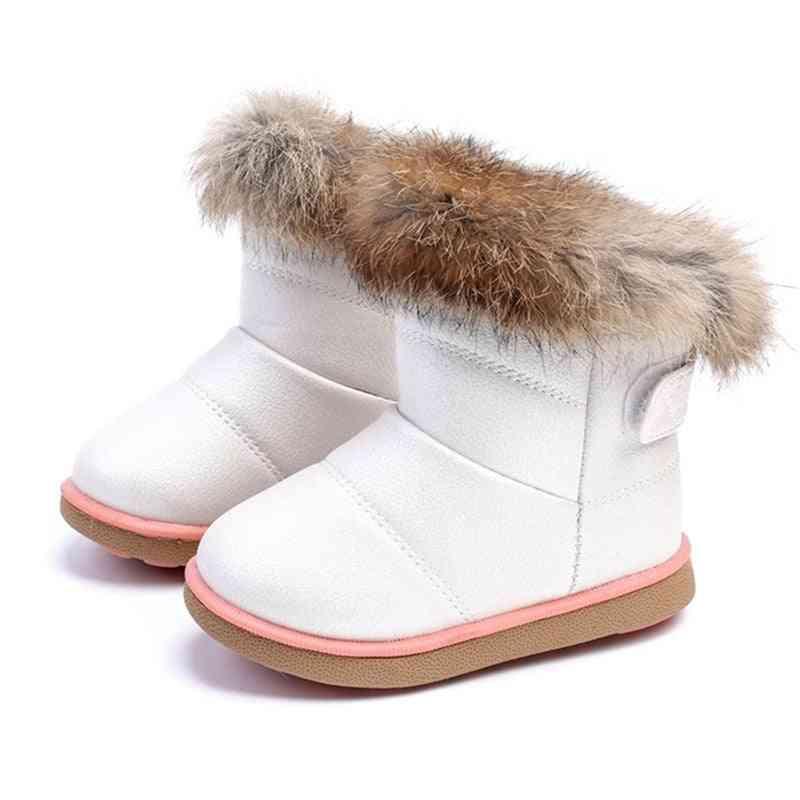Girls & Snow Boots, Rabbit Fur Warm Plush Winter Shoes
