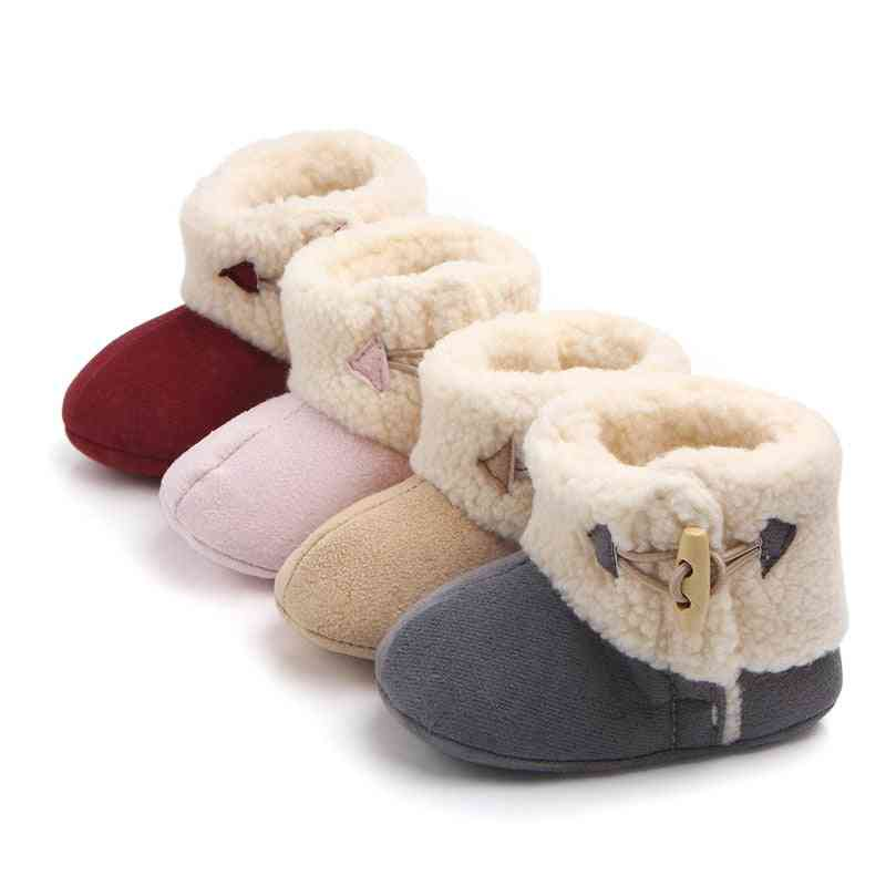 Girls & Warm Ankle Snow Boots, Fur Plush Insole Buckle Shoes