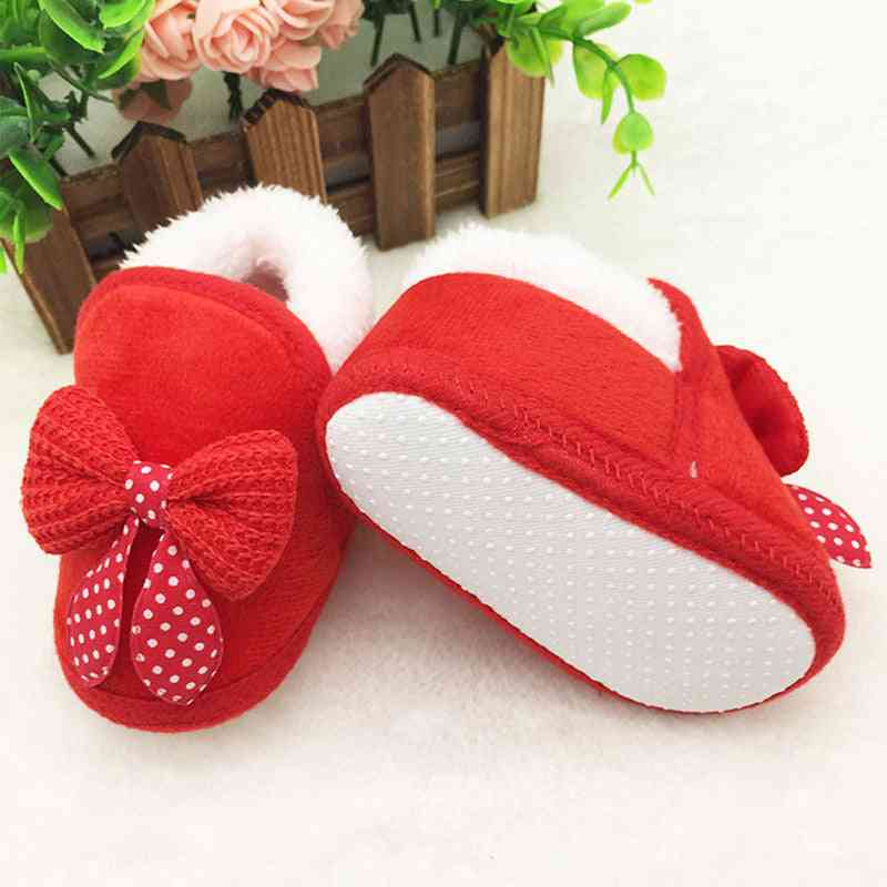 Bow-knot Fur Ankle Length Winter Warm Snow Shoes, Newborn Infant Baby Boots