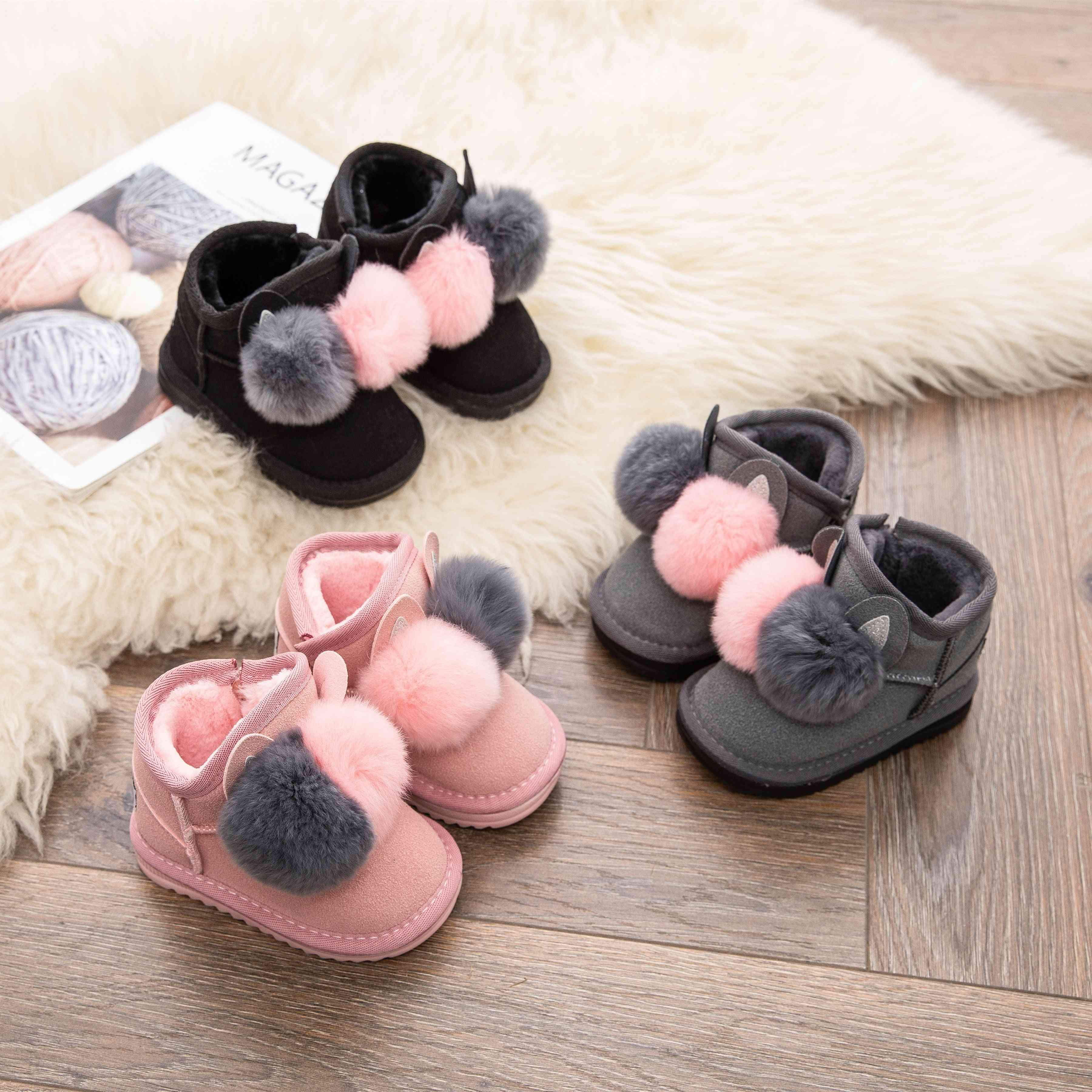 Winter Baby Girl Rabbit Hair Ball Infant Cotton Shoes