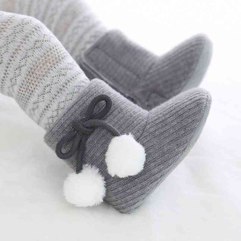 Cute Autumn & Winter Infants  Shoes, Baby Polka Dot Knitting Boots Sneakers Non-slip Soft Soled