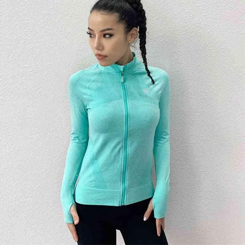 Dry Quick Gym Sport Jackets, Elastic Tights Women's Long Sleeve Zipper Fitness Coat