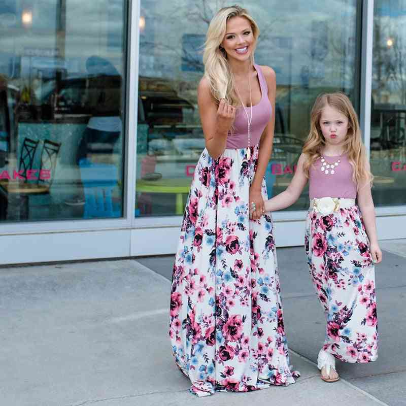 Mother & Daughter Dresses, Outfits Sleeveless Long Dress Matching Clothes