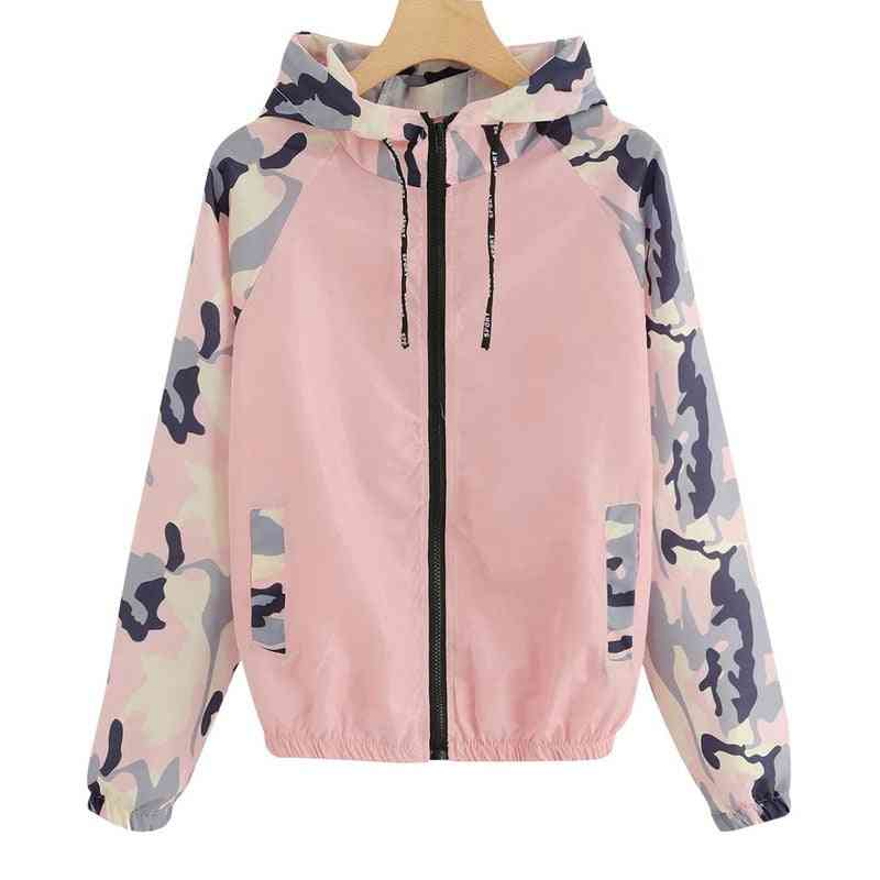 Camo Print Women & Men Running Jacket, Outdoor Camping / Hiking Long Sleeve Jackets Sports Hooded