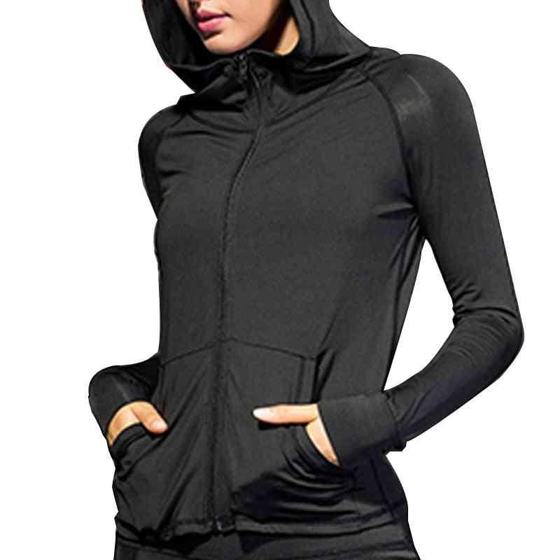 Women Running Zipper Jacket / Coat, Sports Yoga Training Hooded Workout Fitness