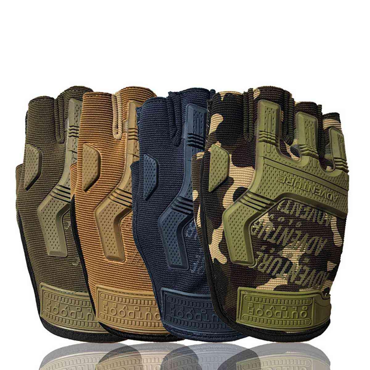 Military Tactical Hard Knuckle, Half Finger Gloves