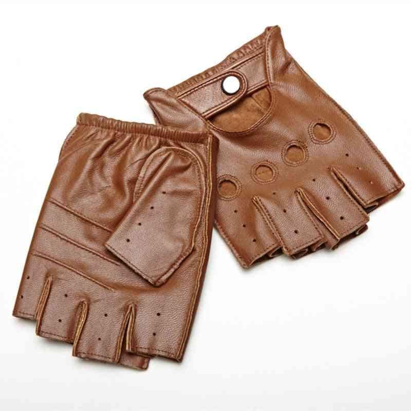 Half-finger Lambskin Leisure Men Genuine Leather Driving Gloves