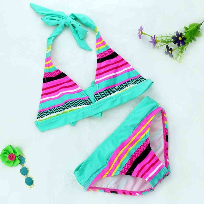 Summer Close-fitting, Elastic Stripe Two-pieces Swimsuit For Kids