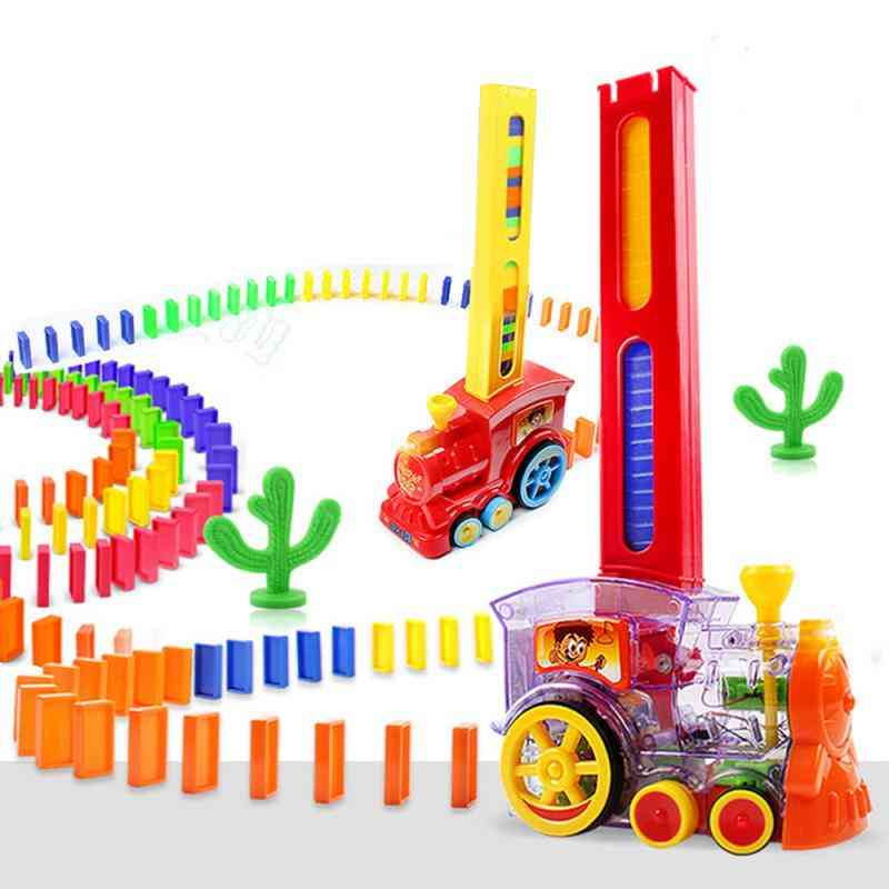 Electric Train And Car Vehicle Plastic Dominoes Juguetes Educational