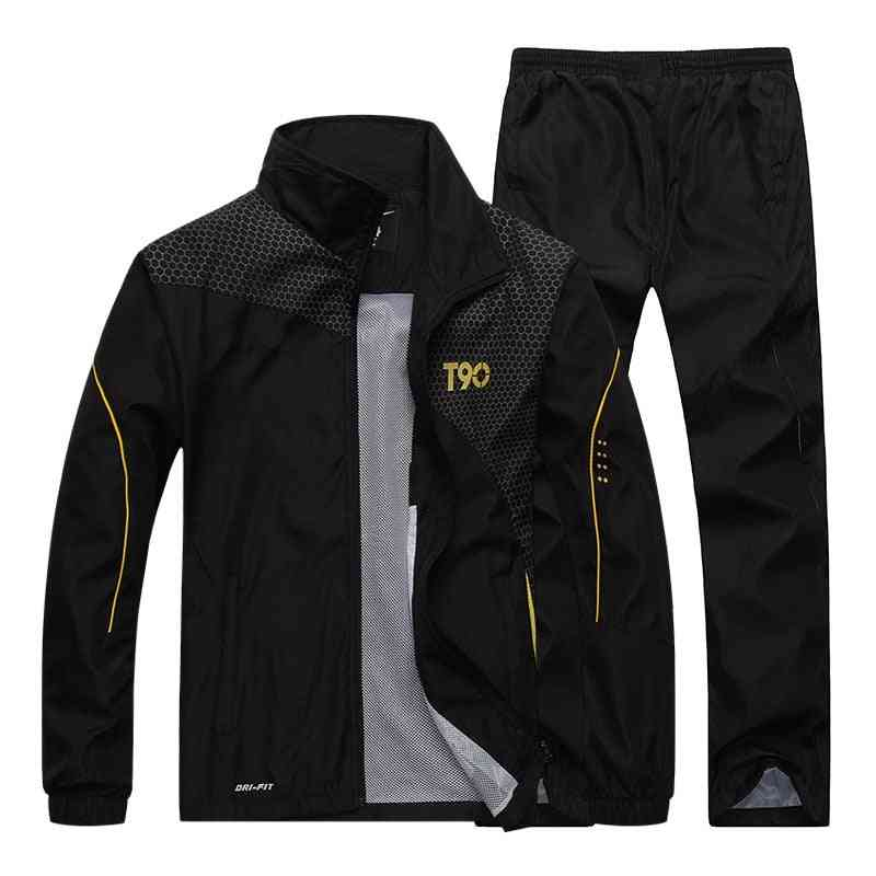 Men Sports Loose Tracksuits, Spring & Autumn Fitness Running Suit Set